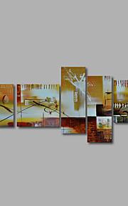 met de hand geschilderd olieverf op doek kunst aan de muur abstracte hedendaagse bruin beige vijf panel klaar te hangen