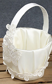 White Ribbon Flower Basket With Lace Flower Girl Basket