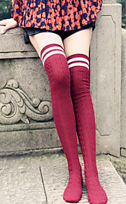 1Pairs Women's Retro Roman Knit Stockings