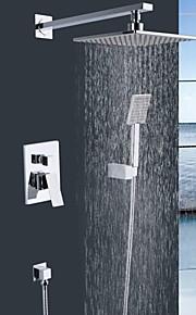 """shengbaier mur monté à double poignées en laiton robinet de douche avec 8 """"tête carrée de douche et douchette"""