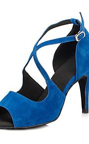 Non Customizable Women's Dance Shoes Salsa Flocking Stiletto Heel Black/Blue/Red