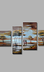 met de hand geschilderd olieverf op doek kunst aan de muur landschap Afrikaans landschap zonsopgang vier panel klaar te hangen