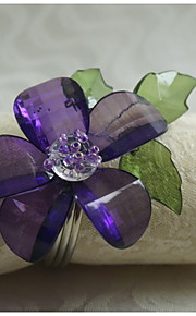 acrílico anillo de decoración de flores servilleta, acrílico, 1.77inch, juego de 12