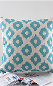 Light Blue Pattern Cotton/Linen Decorative Pillow Cover