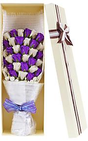 33pcs искусственное белый и фиолетовый градиент сердце пользу выросли мыло цветок лепесток партия подарок свадебные украшения