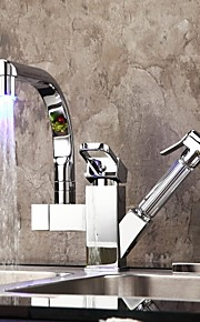 Grifo de la cocina Contemporáneo LED Latón Cromo