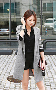 Women's Solid Gray Coat , Vintage Long Sleeve Others
