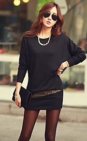 Women's Patchwork Black Dress , Bodycon / Casual / Plus Sizes Round Neck Long Sleeve