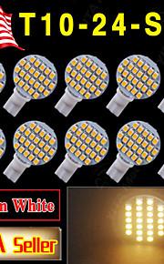 10 x warm wit t10 wedge rv landschapsarchitectuur 24 smd LED-lampen W5W 921 168 194
