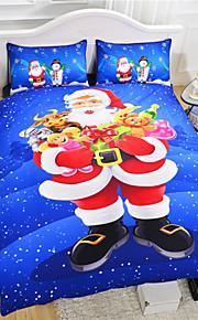 Papai Noel roupas de cama baratos azul natal jogo de cama 3d para miúdos adoráveis 3pcs conjunto de capa de edredon ou 4pcs gêmeo rainha