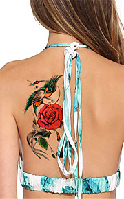 5Pcs/Set Flash Waterproof Flower & Parrot Temporary Tattoo Sticker