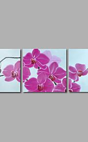 håndmalte oljemaleri på lerret veggen kunst abstrakte blomster rosa orkideer tre-panel klar til å henge