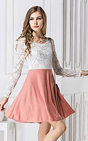 Women's Patchwork / Lace White Dress , Lace / Party / Plus Sizes Round Neck Long Sleeve