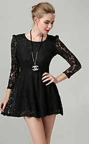 Women's Solid / Lace Black Dress , Sexy / Casual / Lace Round Neck Long Sleeve