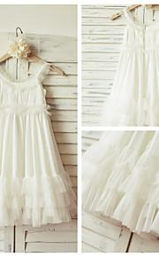 Детское праздничное платье - Платье-чехол Длина до колен Без рукавов Тюль