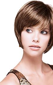 высокое качество монолитным девственница Remy короткие волнистые прямо моно топ парики человеческих волос