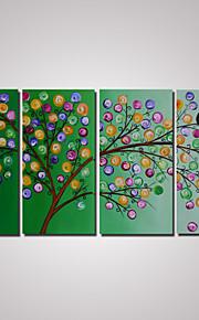 4 paneler abstrakt grønt tre oljemaleri på cavnas klar til å henge