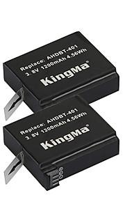 Kingma 2 stuks ahdbt-401 camera batterij 1200mAh voor GoPro held 4 zwart zilver sporten outdoor-camera