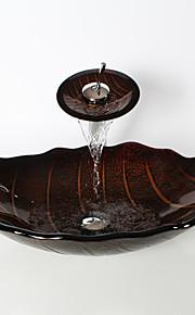 Antico 1.2*55*36*17.5 Rettangolare Materiale del dissipatore è Vetro temperatoLavandino bagno Rubinetto per bagno Anello di montaggio per