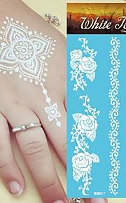 King Horse® India  White Tattoo Stickers  Non Toxic/Hawaiian/Waterproof Flower Series Paper 5pcs 20.5*10cm
