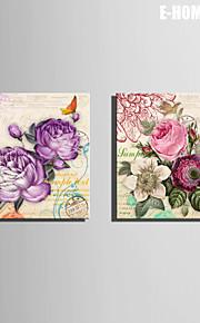 e-home® strukket lerret kunst blomsten og papegøyen dekormaling sett 2
