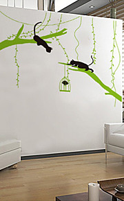 Wall Stickers Wall Decals Style Kitten Playing on The Green Tree PVC Wall Stickers