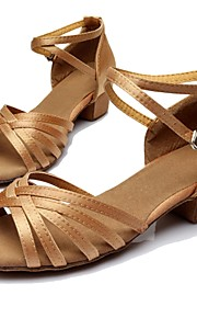 Non Customizable Women's Dance Shoes Latin Satin/Leatherette Customized Heel Black/Brown/Silver/Gold/Leopard