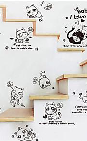 패션 귀여운 장난 꾸러기 고양이 스타일의 평면 벽 스티커 벽 장식, PVC 이동식