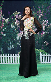 Formal Evening Dress - Black A-line Jewel Floor-length Chiffon / Lace / Satin