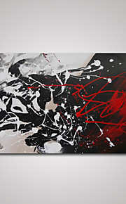 håndmalte moderne abstrakt svart og hvit og rød oljemaling på lerret klar til å henge