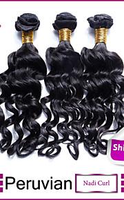 """3шт много 8 """"-30"""" перуанский девственные волосы нади локон черные как смоль # 1 локон человеческих волос ткать пучков"""