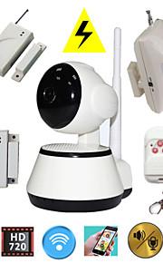 H.264 1.0mp hd 720p IP-kamera p2p pan IR cut TF kort wifi netværk ip sikringssystem med trådløs alarm detektor