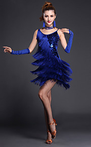Latin Dance Dresses Women's Performance Polyester / Lycra Sequins / Tassel(s) 4 Pieces