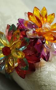kristal bloem servetring, acryl, 1.77inch, set van 12