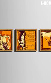 E-HOME®  Framed Canvas Art,A Person Who Dances  Framed Canvas Print Set of  3
