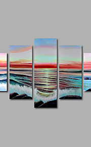 håndmalede olie maleri på lærred væg kunst moderne Seascape solopgang bølger sten hjem deco fem panel klar til at hænge