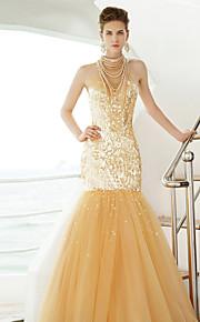 Официальный вечер Платье - Золотой Русалка Со стойкой Длина до пола Тюль