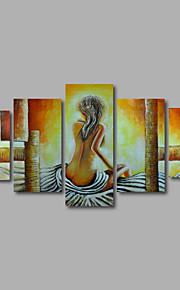 håndmalede olie maleri på lærred væg kunst nøgen piger sikkerhedskopiere beige abstrakt fem panel klar til at hænge