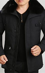 Masculino Casaco Duvet Comprido Cor Solida Algodão / Pena / Pêlo / Tricô / Microfibra / Elastano / Viscose Manga Comprida Masculino