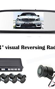 renepai® 4,3-дюймовый 4 зонд парковочные датчики ЖК-дисплей камеры видео автомобиля обратный Резервное копирование радар Комплект системы