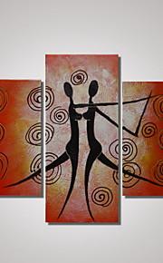 3 paneles 100% pintado a mano moderna de la pintura de aceite de la mujer del baile y el hombre del arte abstracto de la pared listo para