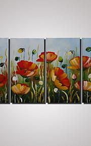 4 paneles enmarcados modernas abstractas pinturas de flores de amapola pintura en pinturas de paisaje de la decoración de la pared de la
