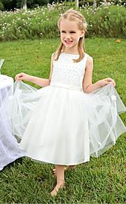 Детское праздничное платье - Бальное платье Длина ниже колен Без рукавов Атлас / Тюль
