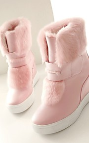 Women's Shoes Leatherette Wedge Heel Snow Boots Boots Outdoor / Office & Career / Casual Pink / White / Beige