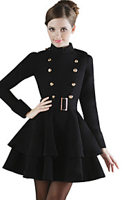 Women's Fashion Pattern Color Double Breasted Long Sleeved Woolen Coat