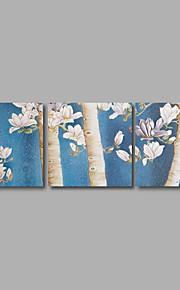 Abstrakt / Landskap / Botanisk Canvastryck Tre paneler Redo att hänga , Horisontell