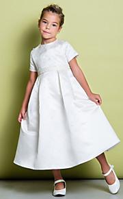 Lanting Bride A-vonalú Tea-hossz Virágoslány ruha - Szatén Rövidujjú Ékszer val vel Gyöngydíszítés