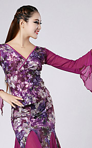 High-quality Printed Velvet Ballroom Dance Tops for Women's Performance(More Colors)