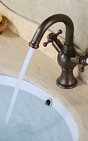 ברז כיור אמבטיה עם ברז עיצוב עתיק גימור פליז עתיק