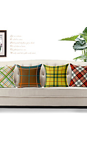 Set of 4 Geometric Pattern Cotton/Linen Decorative Pillow Cover